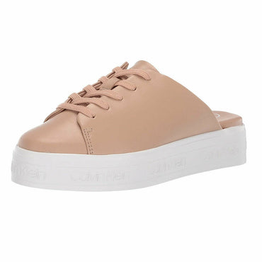 Calvin Klein Jackay Tan Leather Fashion Platform Sneaker Mules Size 8