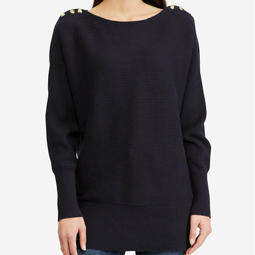 Ralph Lauren Women's Black Button Shoulder Boat Neck Sweater Top Plus Size 3X