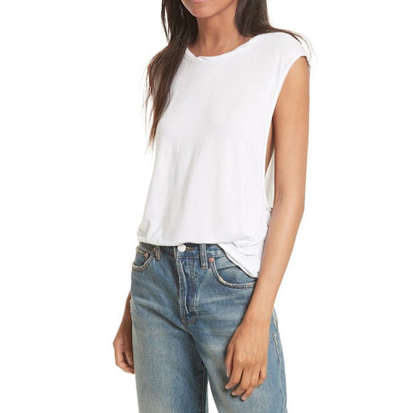 Free People We the Free Womens Top White The It Muscle Tee Tank Size Medium