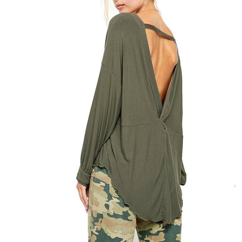 Free People Army Green Shimmy Shake Oversized Knit Top Blouse Size M