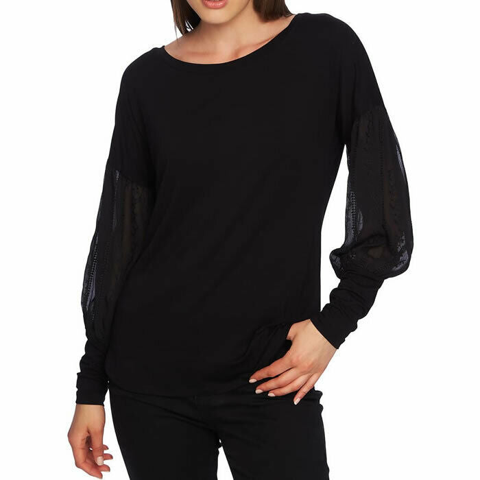 1. STATE Women's Embroidered Sleeve Swing Boho Black Tee Size XL $79