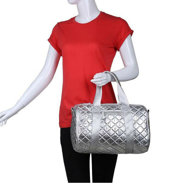 Urban Expressions Quilted Metallic Silver Shoulder Bag NWT