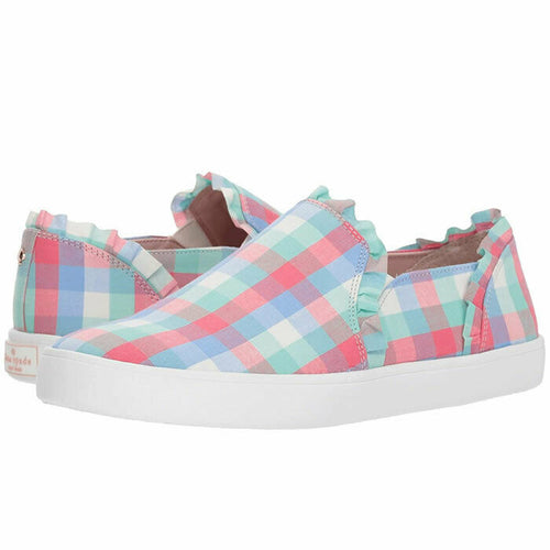 Kate Spade Lilly Multicolor Plaid Gingham Check Slip On Sneakers Size 6.5