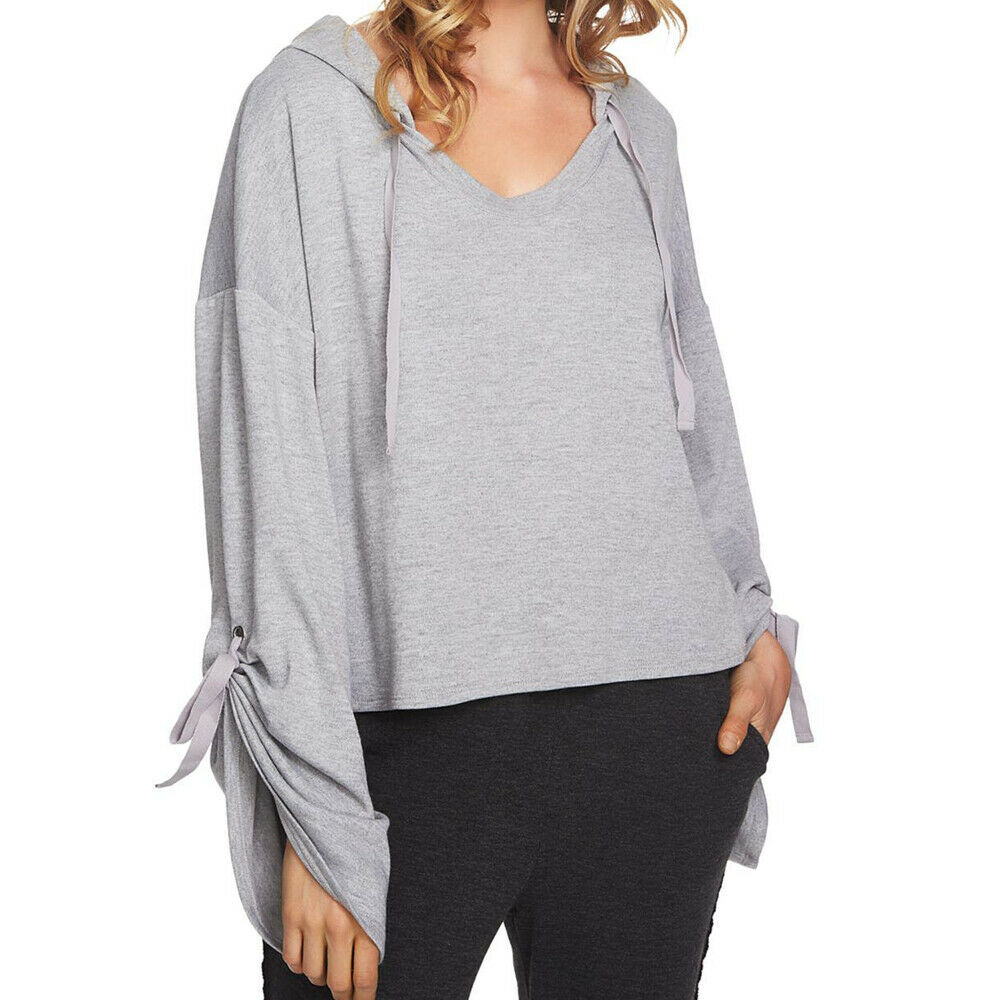 1 State Womens Grey Cozy Cropped Hooded Knit Sweater Top Size M