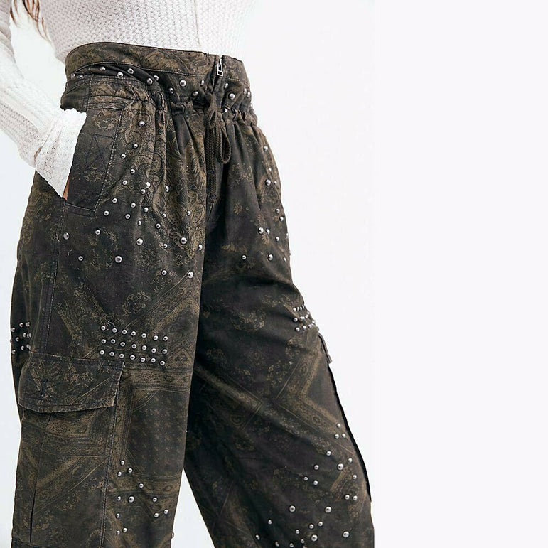 Free People Fly Away Studded Parachute Cropped Boho Pants Size 8