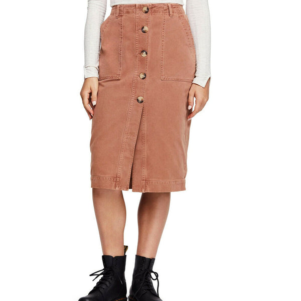 Free People Mid Length Utility Skirt Size 8 OB884455 $98