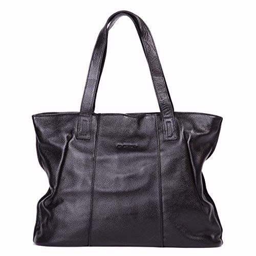 New Leathario leather tote bag with zipper closure in black