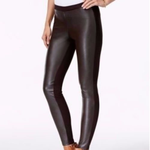 New Michael Kors Women Black Faux Leather Front Leggings Pants Size S NWT