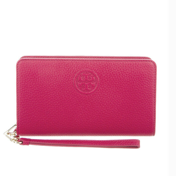 Tory Burch Pebbled Pink Leather Bombe Smartphone Wristlet Wallet NWT