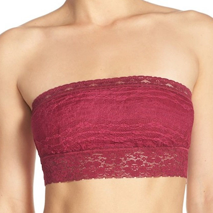 Free People Boysenberry Bandeau Bra Bralette Stretch Lace F7150220A Size M NWT
