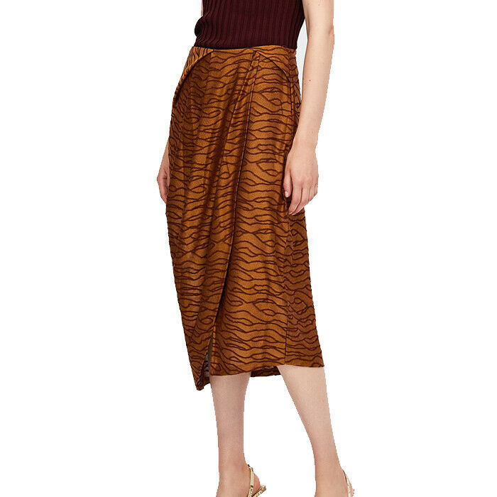 Zara Pleated Jacquard Faux Wrap Skirt Size M