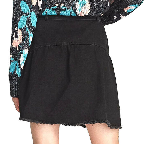 Zara Belted Ruffled Black Denim Mini Skirt Size M