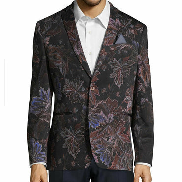 Tallia Orange Slim Fit Leaf Print Cotton Sportcoat Blazer Jacket Size 42R