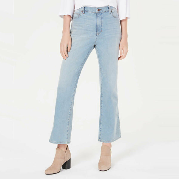 Eileen Fisher Ice Blue High Waist BootCut Organic Cotton Denim Jeans Size 4