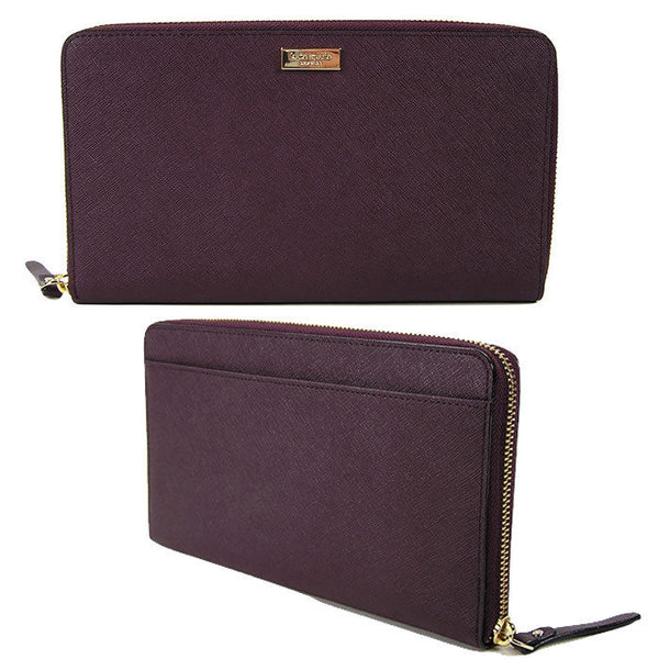 Kate Spade Talla Laurel Way Mahogany X-Large Saffiano Leather Zip Clutch Wallet
