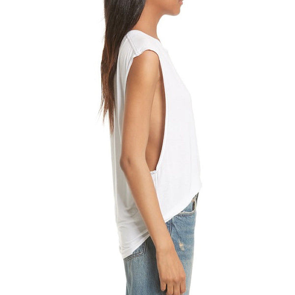 Free People We the Free Womens Top White The It Muscle Tee Tank Size Large