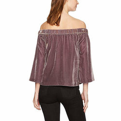 Calvin Klein Jeans Womens Velvet Off The Shoulder in Rose Ash Top Size XL