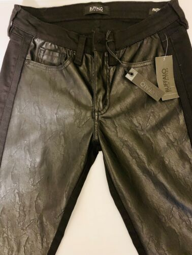 Buffalo David Bitton Faith Faux Leather Front Black Skinny Jeans Size 26