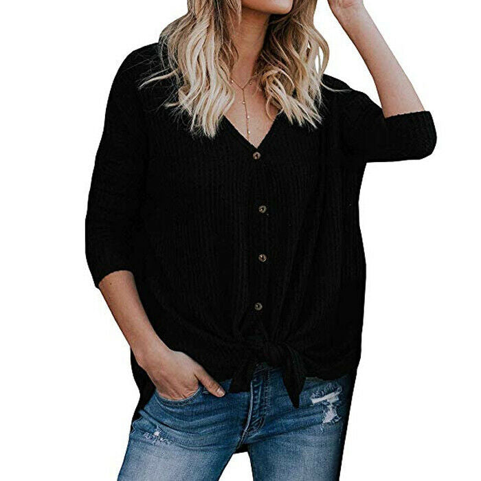 For the Republic Women's Waffle Knit Long Sleeve Black Tunic Top Size S