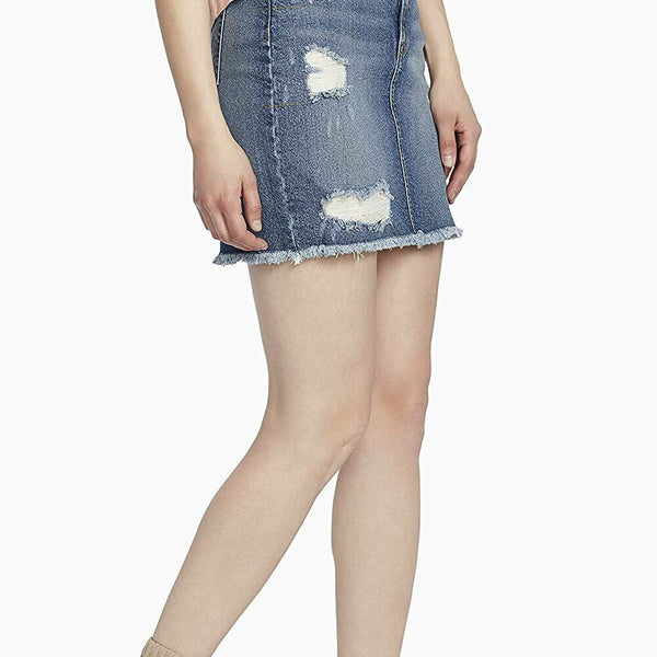 Ella Moss High Waist Distressed Denim Jean Mini Skirt Size 27