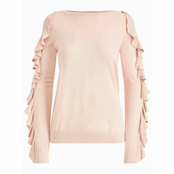Lauren Ralph Lauren Womens Pink Silk Modal Blend Ruffle Sleeve Sweater Size XL