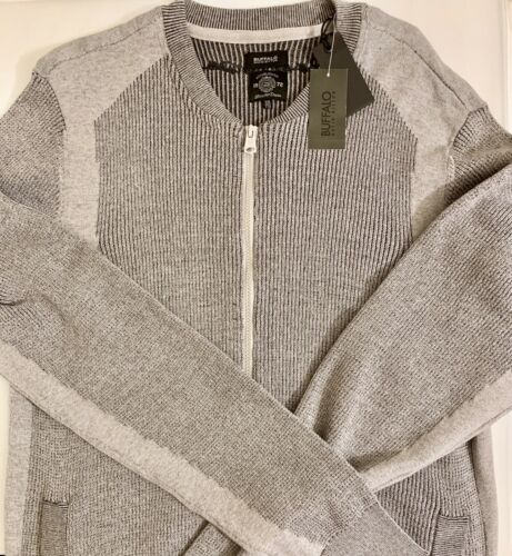 Men's Buffalo David Bitton Wakeel Zip Up Cardigan Sweater In Gris Pale Size XXL