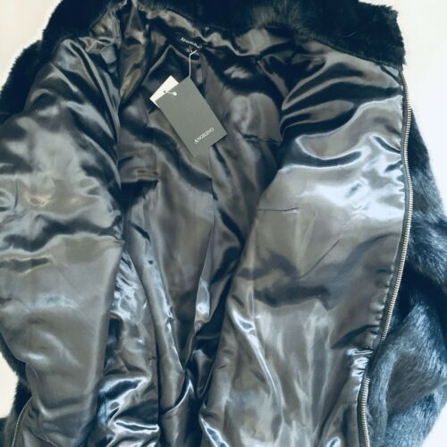 Angeleno Women's Black Faux Fur Short Zippered Jacket Size L