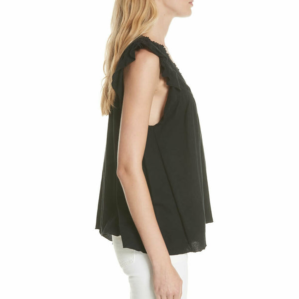Free People Womens Coconut Gathered Ruffle Sleeve Black Boho Knit Top Size S