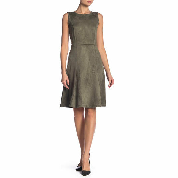 Philosophy Green Faux Suede Sleeveless Dress Size 12