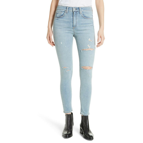 Rag & Bone High Rise Ankle Skinny Norlet Distressed Jeans Size 27