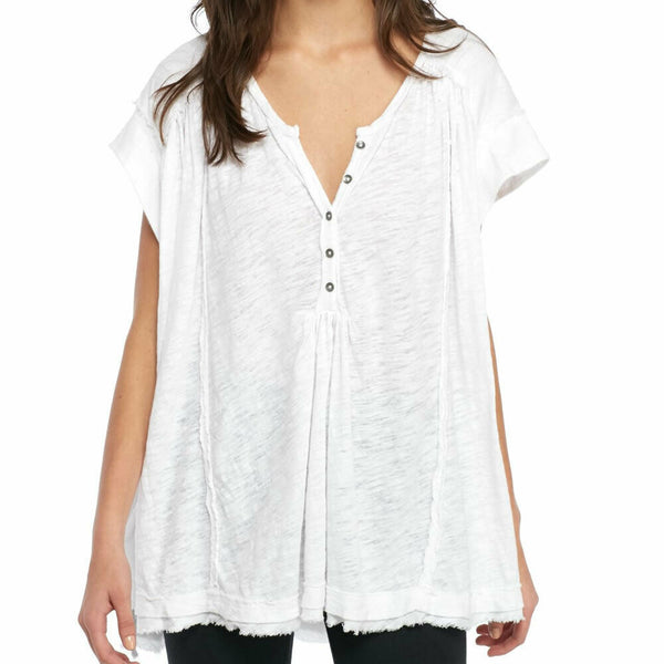 Free People Aster Henley Oversized White Top Size M $68 OB755364