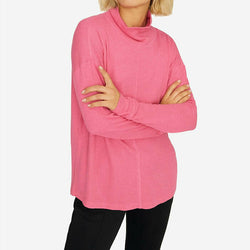 Sanctuary Highroad Waffle Knit Thermal Knit Long Sleeve Pink Top Plus Size 1X