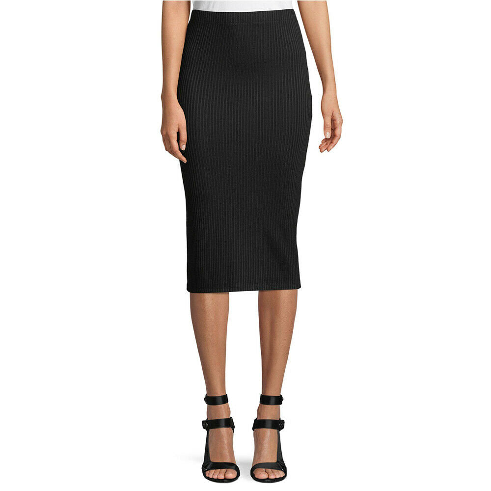 Michael Kors Black Stretch Ribbed Viscose Pencil Skirt Size XL Brand New - $125