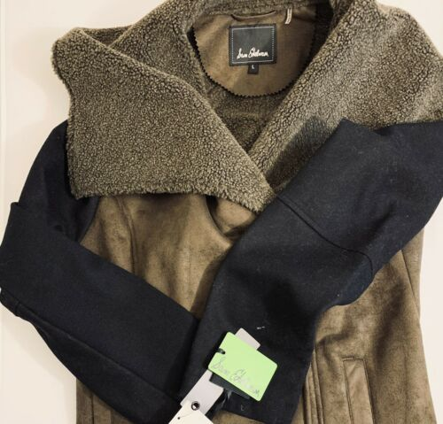 Sam Edelman Claire Contrast Sleeve Faux Shearling Coat Jacket Size L