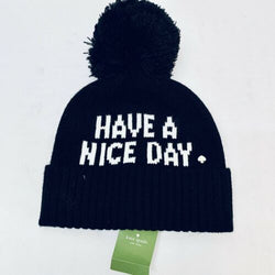 Kate Spade Have A Nice Day Knit Beanie Cap Hat in Black