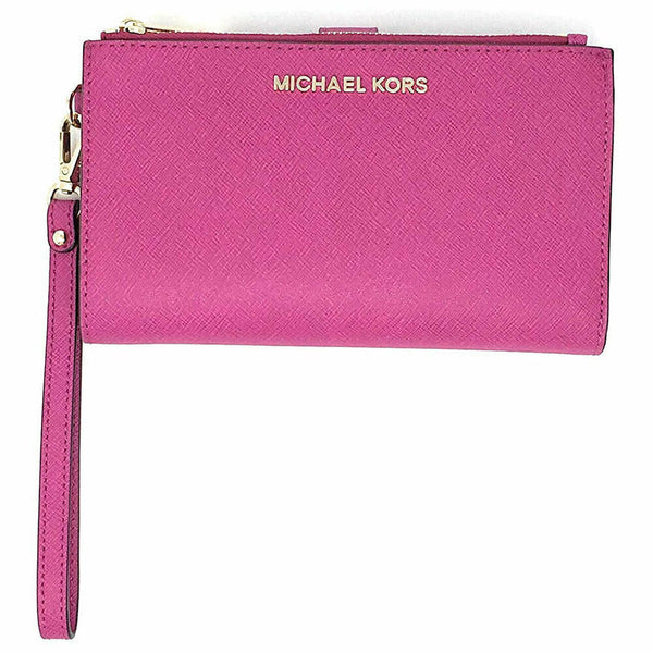 Michael Kors Women's Jet Set Travel Double Zip Wristlet Phone Holder in Fuschia