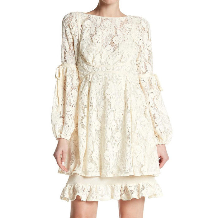 Free People OB725148 Women's Long Sleeve Ruby Lace Mini Dress Cream Size XS