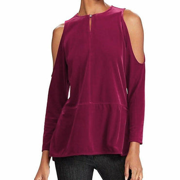 Lauren Ralph Lauren Women's Purple Velvet Cold Shoulder Blouse Top Size L