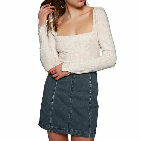 Free People Blue Modern Femme Stretch Denim Mini Skirt Size 4