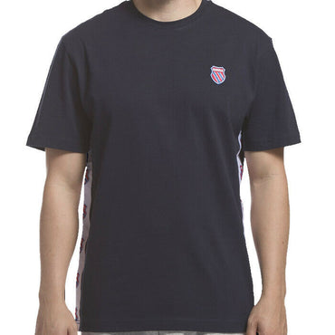 K-Swiss Mens Navy Blue Short Sleeve Badged Logo Tee Shirt Size L
