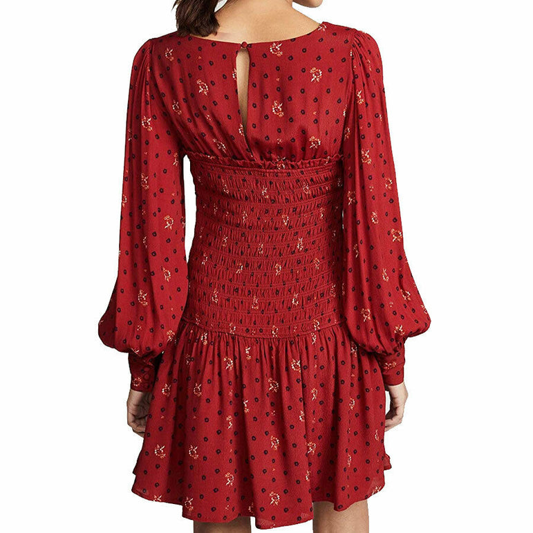 Free People Two Faces Printed Floral Boho Mini Dress $128 OB885578