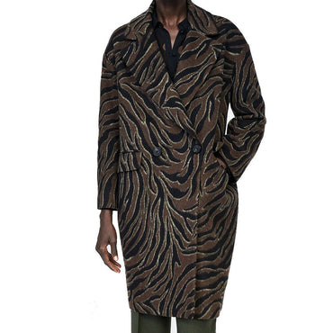 ZARA Animal Jungle Print Wool Blend Coat Size L