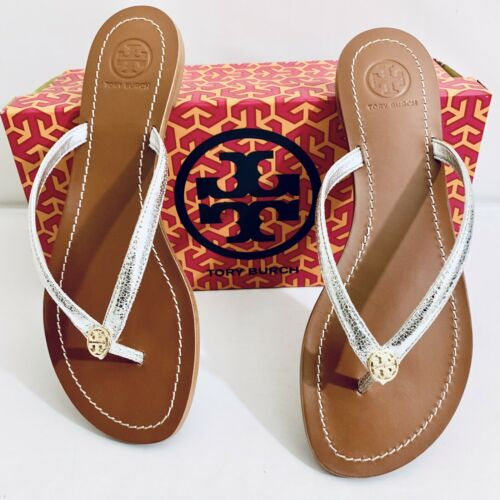 Tory Burch Terra Silver Leather Thong Flat Flip Flop Sandals Size 8