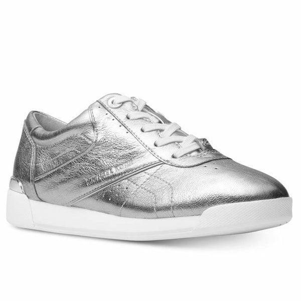 Michael Kors Addie Metallic Silver Leather Low-Top Fashion Sneakers Size 7