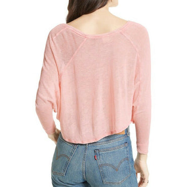 Free People Women's Nashville Peach Linen Blend Tee OB560855 Size M NWT
