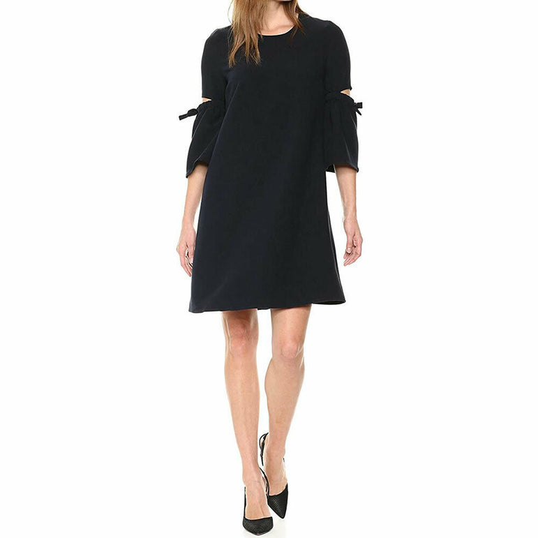 Ellen Tracy Black A Line Dress with Cut Out Bell Sleeves Size 4