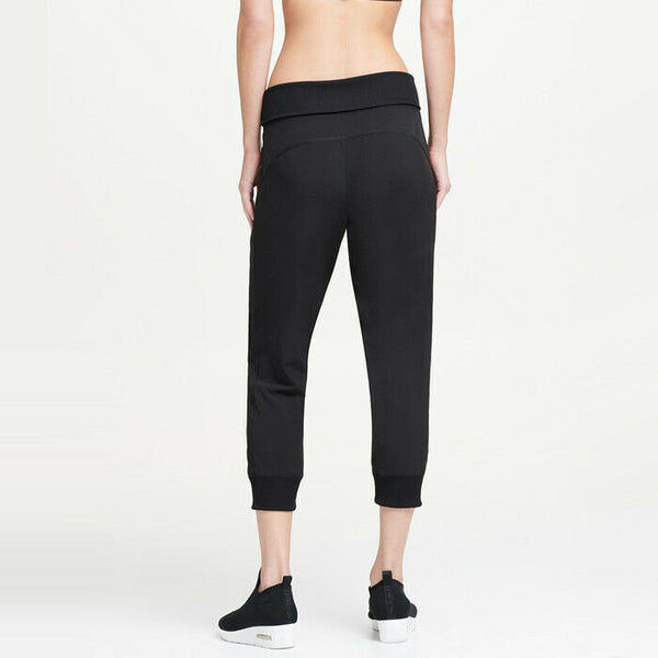 Donna Karan Active Black Foldover Waistband Stretch Cropped Jogger Pants Size XL