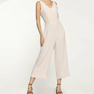 Massimo Dutti Pale Pink Sleeveless Wide Leg V-Neck Crop Jumpsuit Size 6