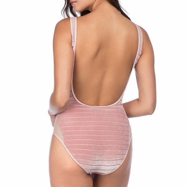 Kenneth Cole Blush Pink Mesh Inset Velvet One Piece Swimsuit Size M