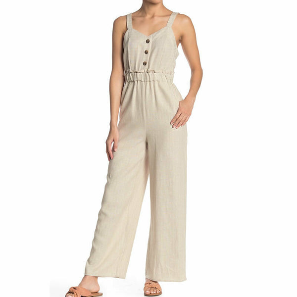 Romeo & Juliet Couture Striped Wide Leg Linen Blend Jumpsuit Romper